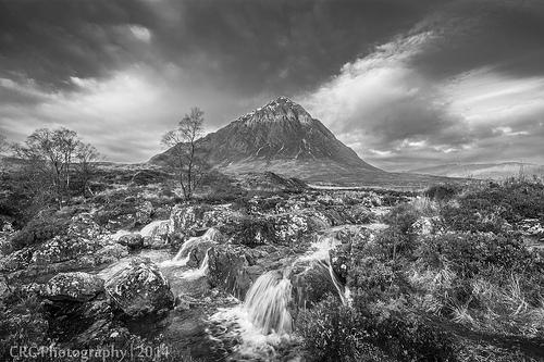 black and white mountain photo