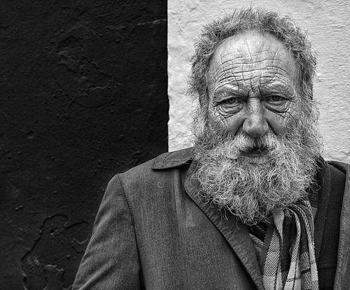 elderly black and white photo