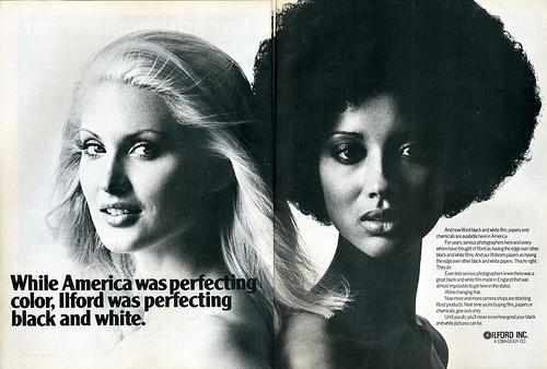 black and white advert  photo