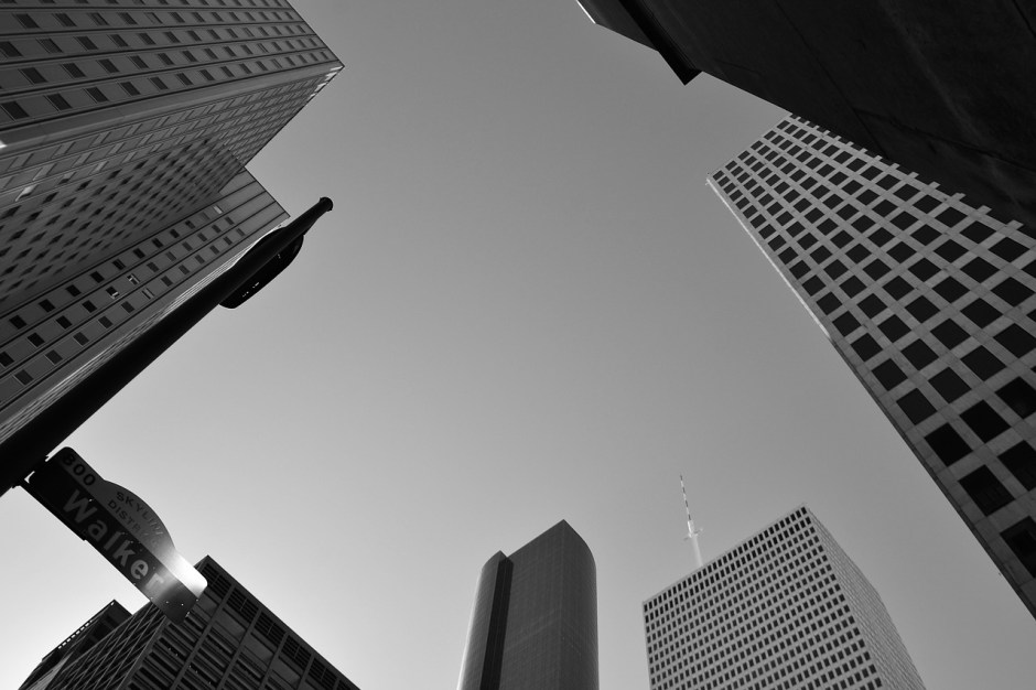 article about overpopulation - black and white city looking upwards