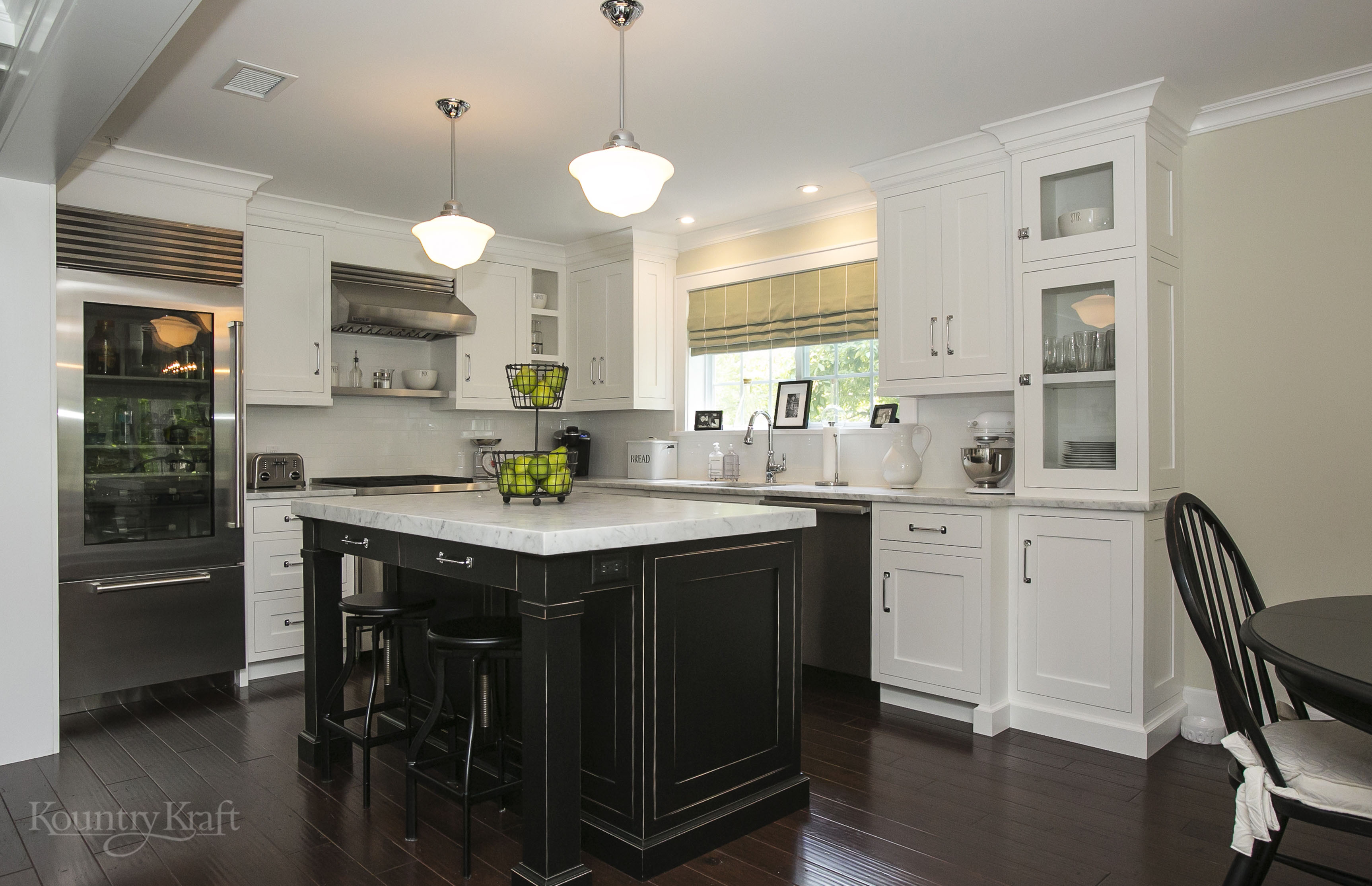 Black Kitchen Island And White Cabinets In Chatham NJ