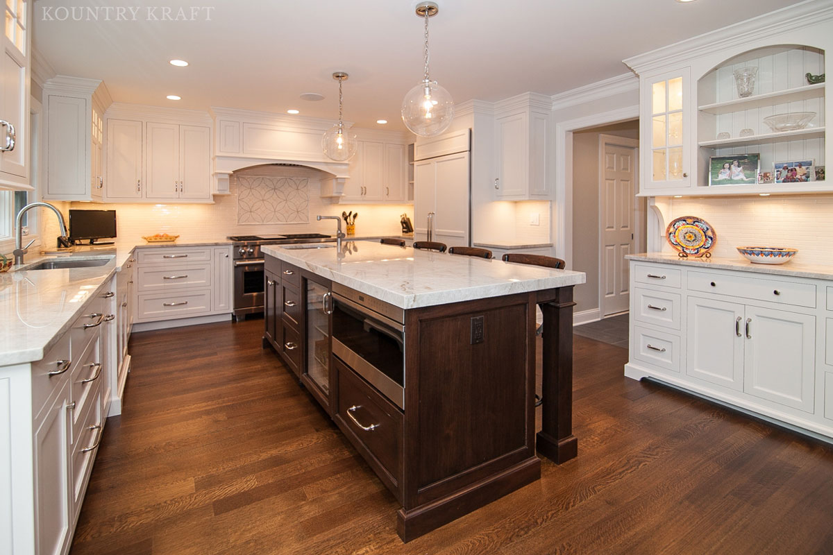 custom kitchen cabinetry pots and pans set cabinets of top quality by kountry kraft cabinet island with english walnut stain madison nj