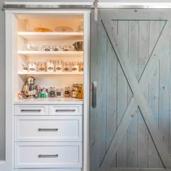 Farmhouse Kitchen Cabinets Islands With Storage Transitional In West Newbury Massachusetts Built Pantry White Open Shelves And A Sliding Barn Door