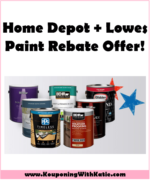 awesome home depot or lowes paint rebate offer kouponing with katie. Black Bedroom Furniture Sets. Home Design Ideas