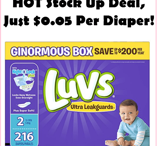 HOT Luvs Diaper Deal!!! Stock Up For As Low As $0.05 Each DELIVERED!!!