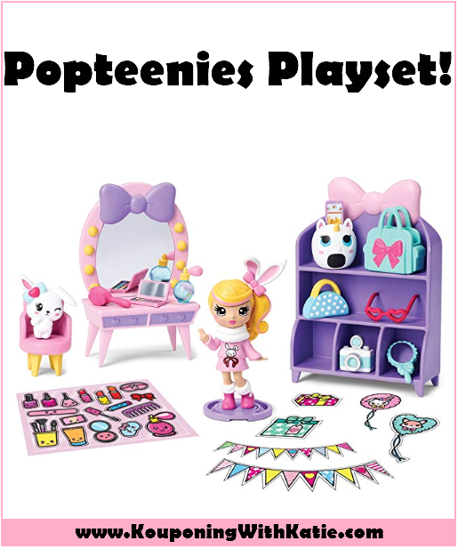Rainbow Unicorn Party Surprise Box Playset with Confetti Party Popteenies