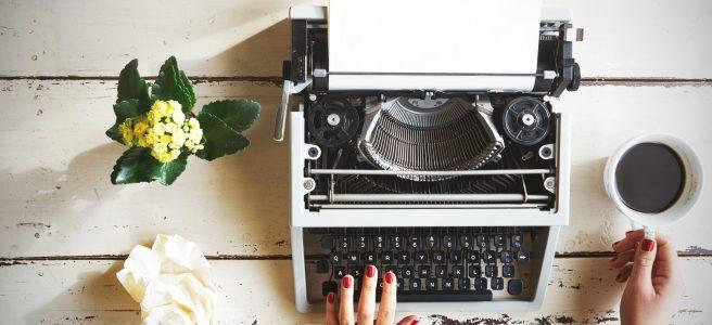 writing on old typewriter