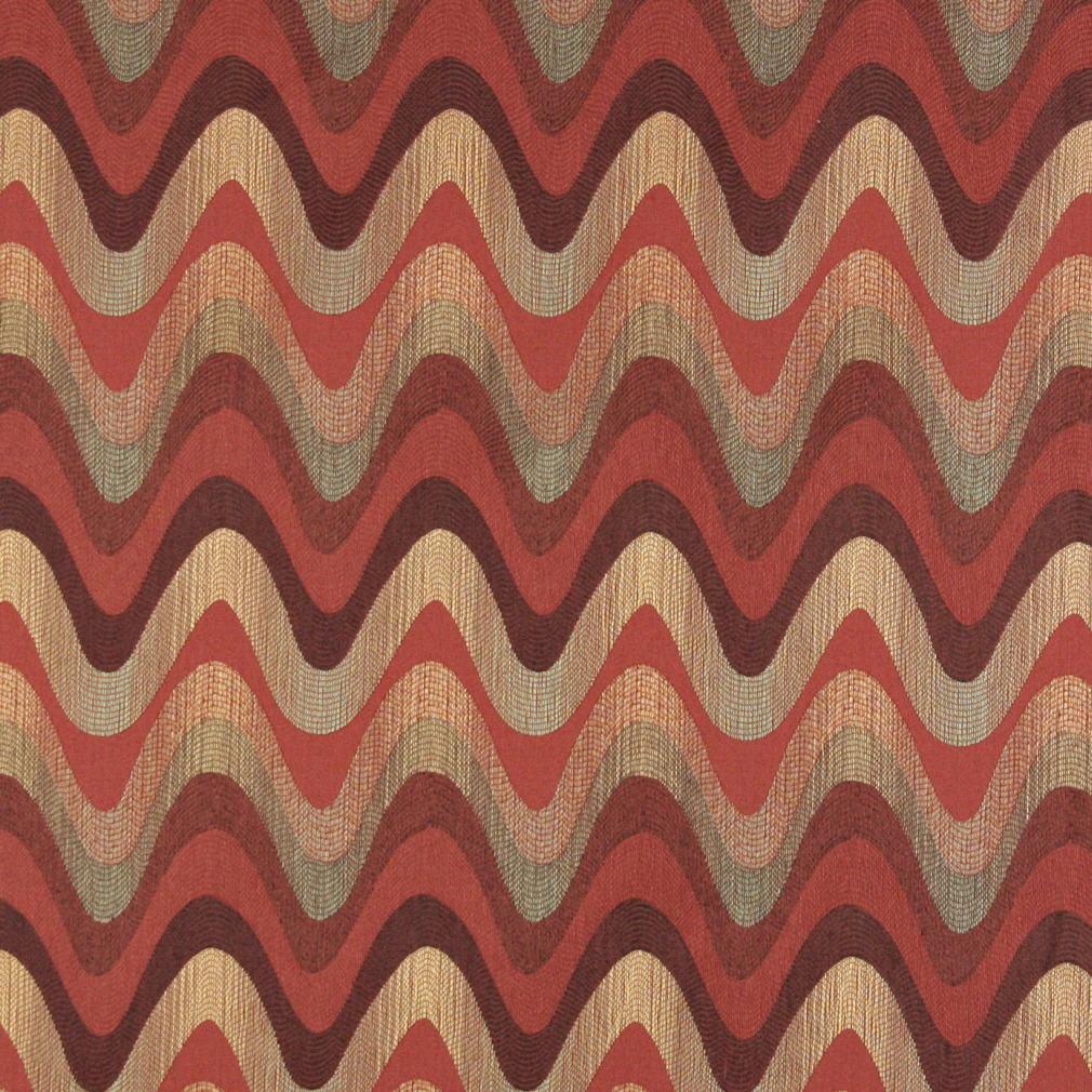 Burgundy Red and Coral Abstract Wave or Contemporary Chevron Pattern Damask Upholstery Fabric