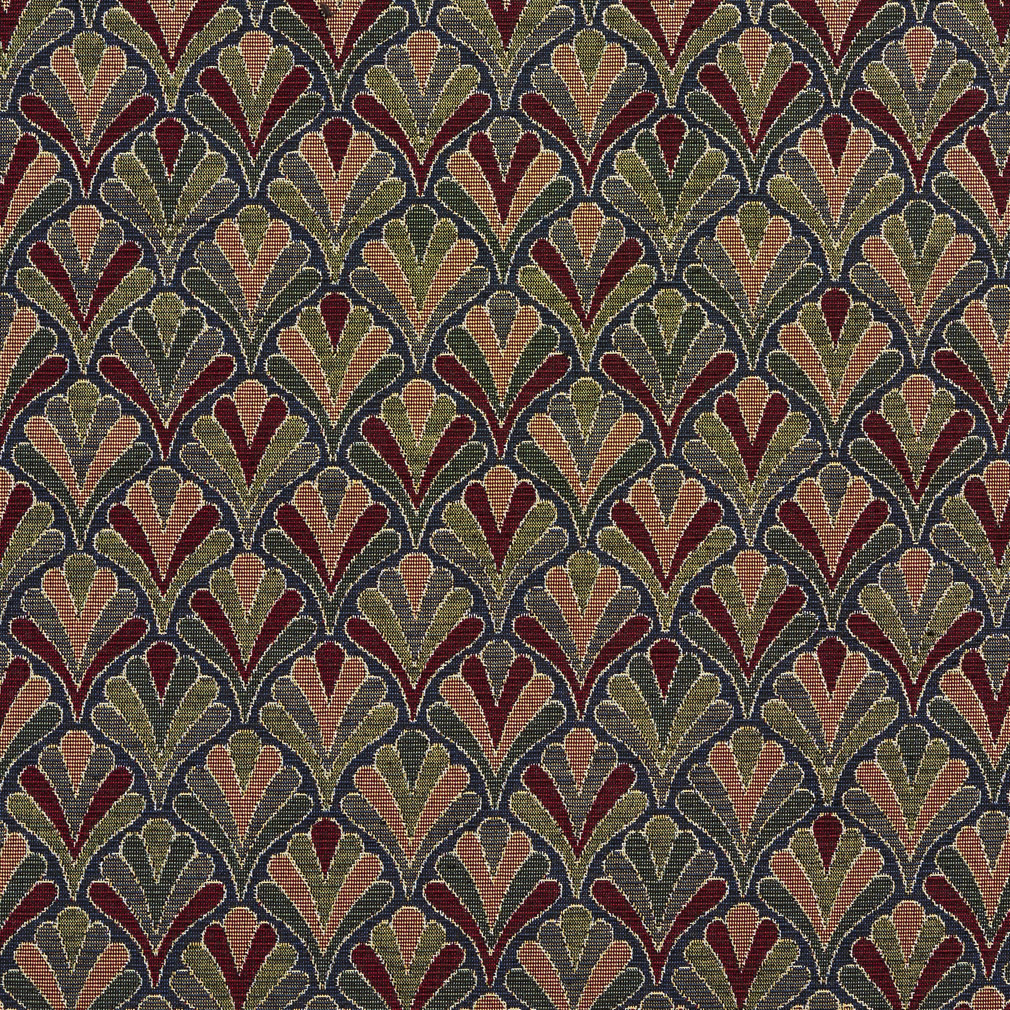 Navy Fan Burgundy and Coral Small Scale Tapestry Drapery