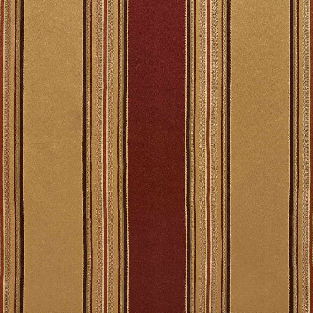 Beige and Burgundy Shiny Large Stripe Damask and Silk