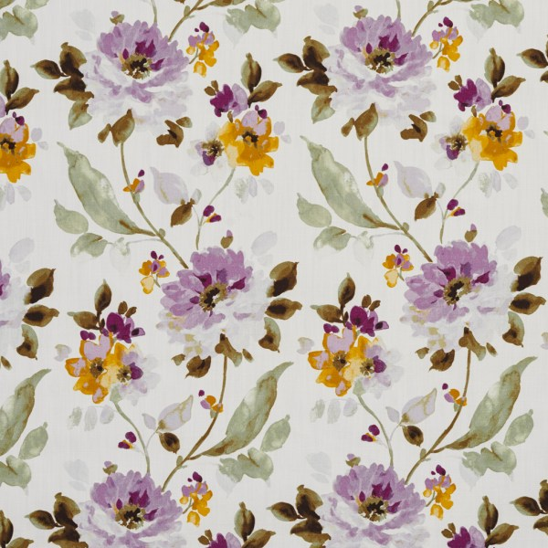 Green And Lilac Floral Print Linen Upholstery Fabric