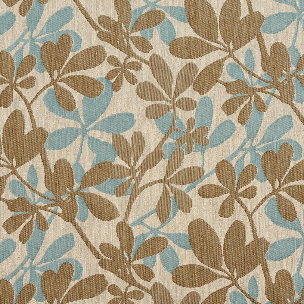 Capri Brown Aqua on Beige Large Textured Leaf Pattern Brocade Upholstery Fabric