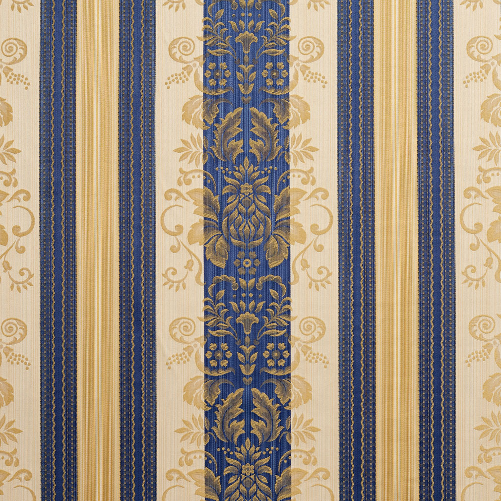Vintage Dark Blue and Gold Foliage Damask Drapery and Upholstery Fabric