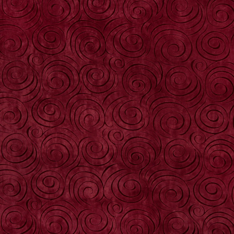 Merlot Burgundy Decorative Swirl Microfiber Velvet
