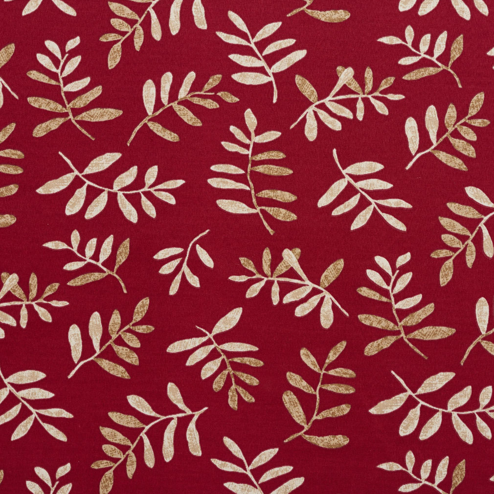 Beige and Burgundy Red Foliage Prints Bacteria and Stain