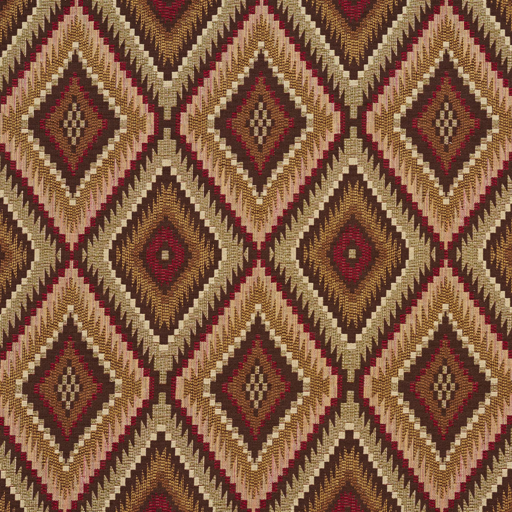 Coral Beige and Brown Southwestern Diamond Tapestry