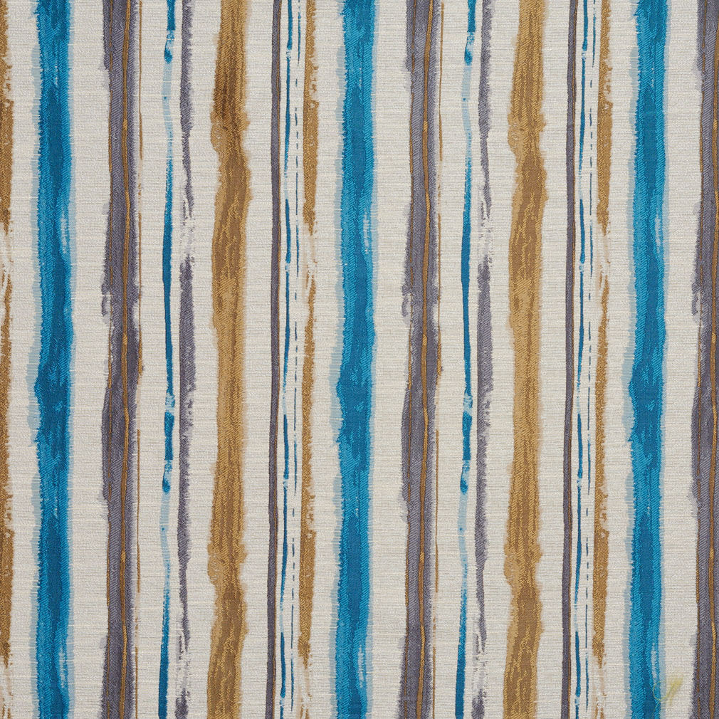 Lagoon Aqua and Gold Watercolor Paint Stripes Contemporary