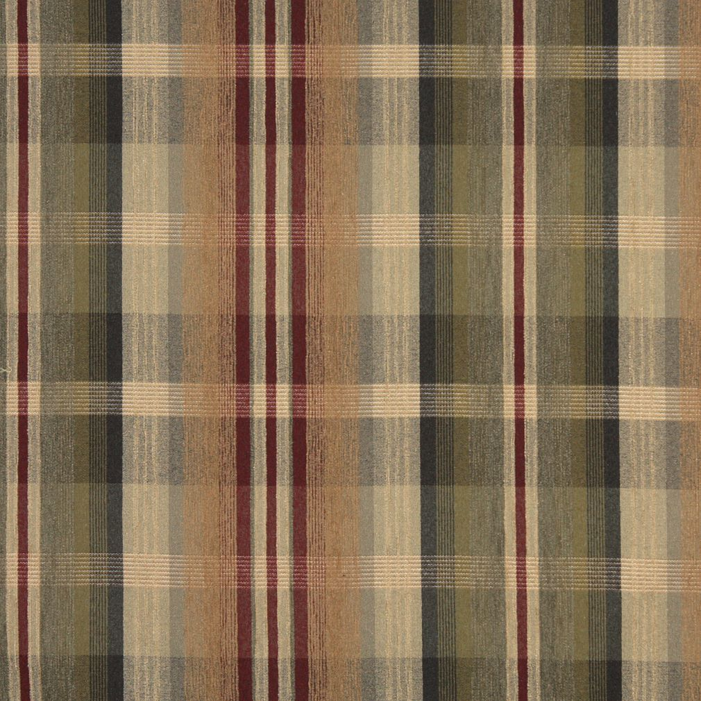 Tan Beige and Burgundy Plaid Chenille Upholstery Fabric
