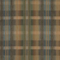 Brown and Coral Plaid Chenille Upholstery Fabric