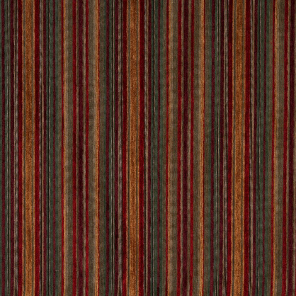 Ruby Beige and Burgundy Small Scale Stripe Chenille Upholstery Fabric