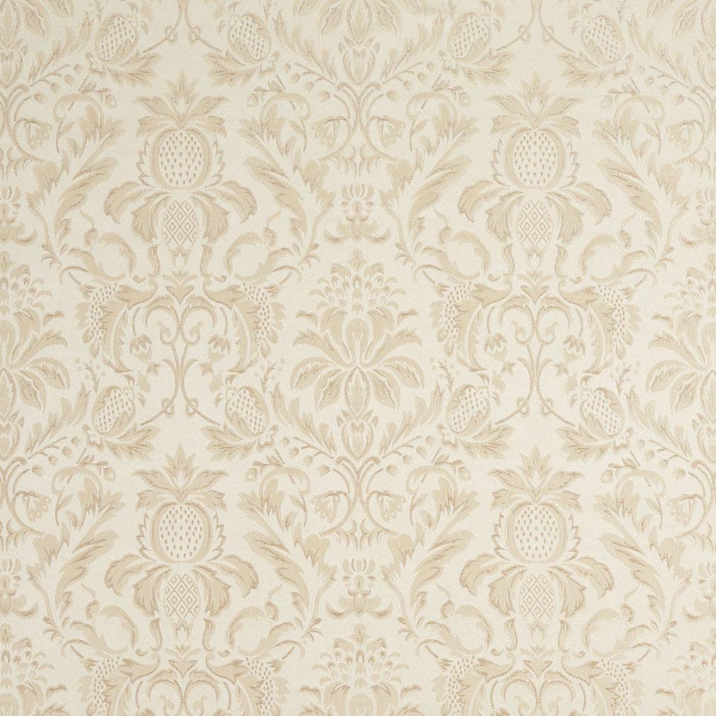 Cream White Heirloom Damask Upholstery Fabric