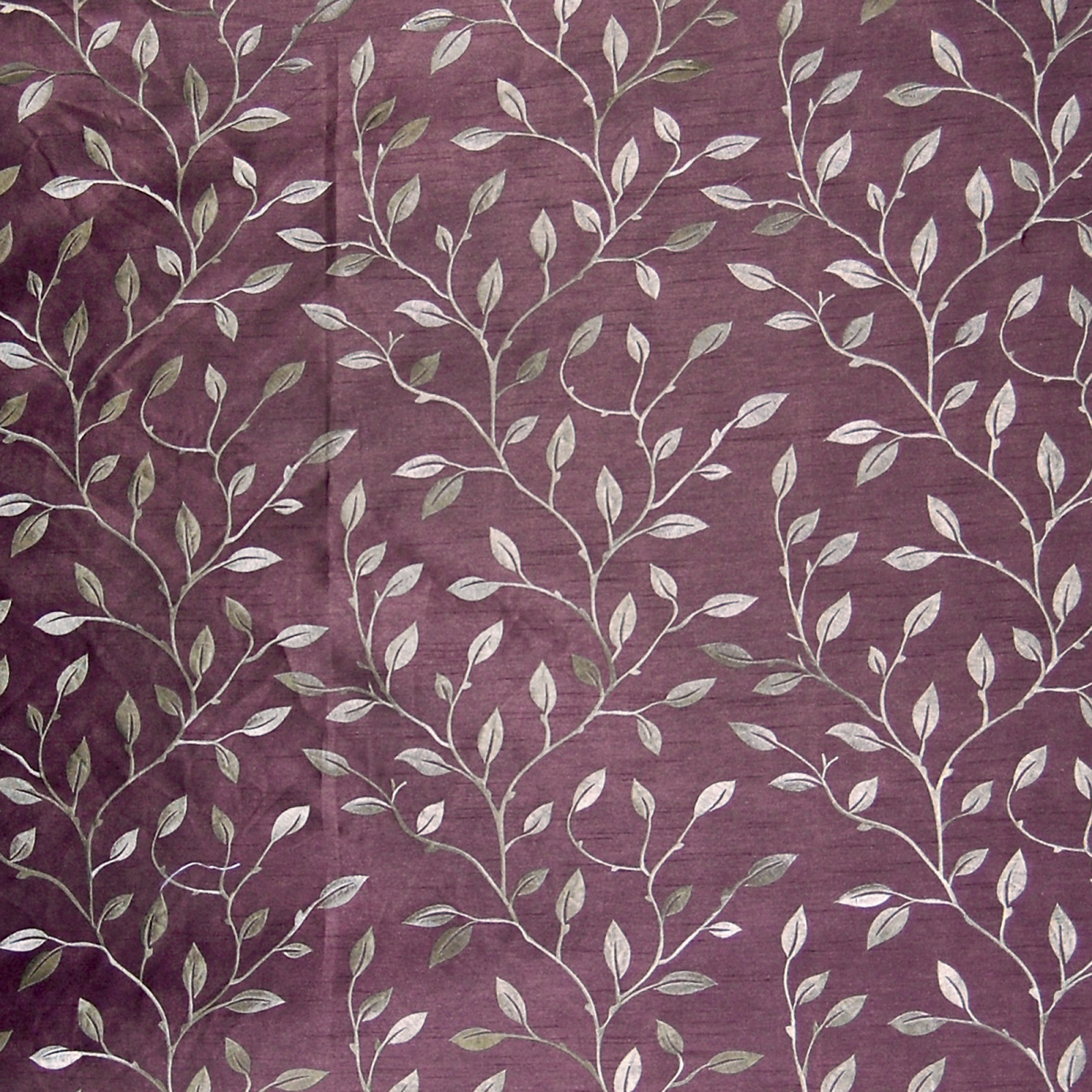 Plum Purple Asian Embroideries Drapery and Upholstery Fabric