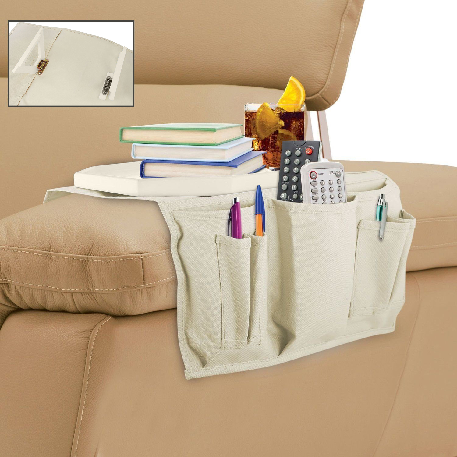 remote control holder for chair pattern hyperextension roman wooden clasp couch tray table and organizer kovot