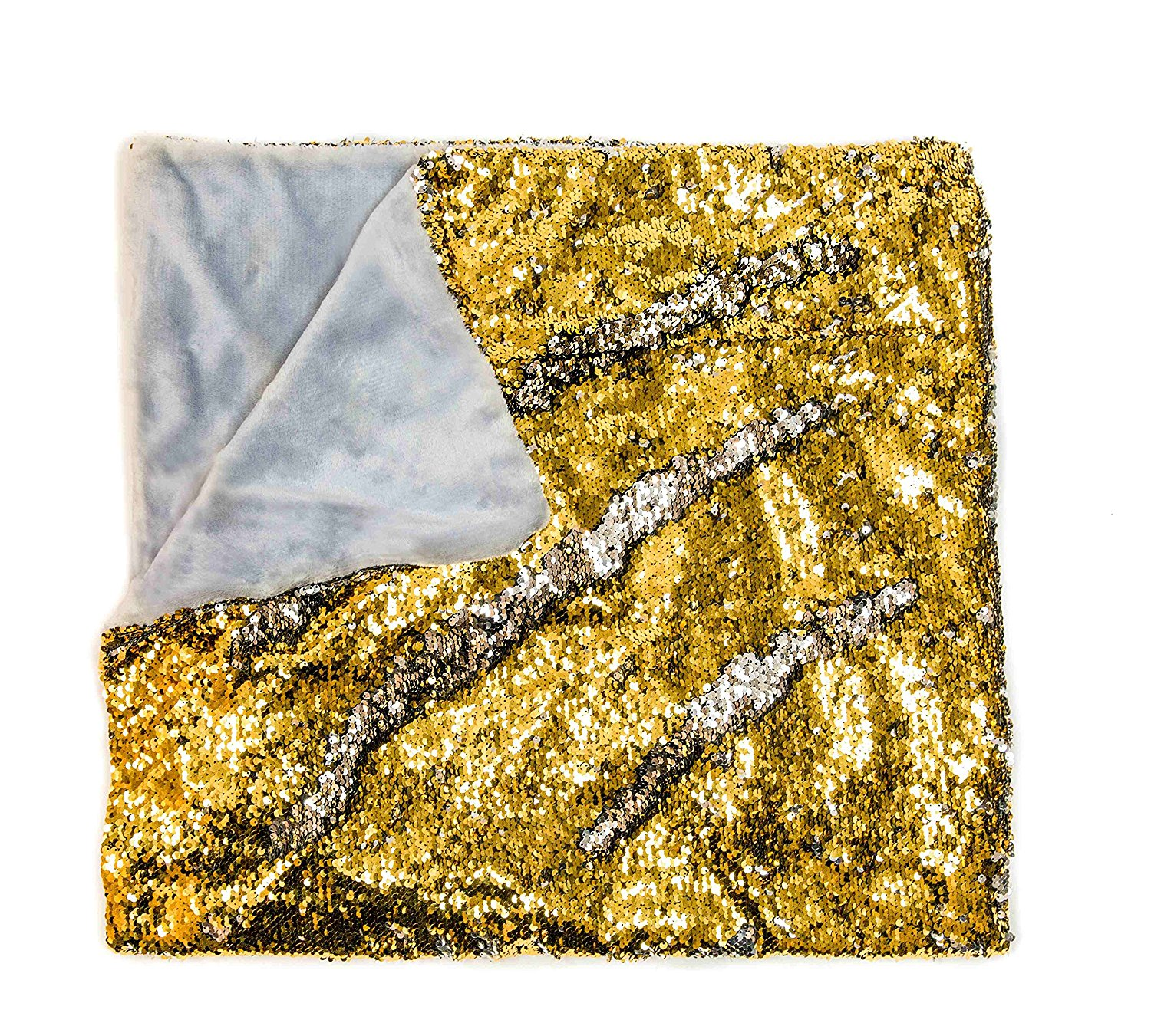 Mermaid Sequin Style Throw Blanket Gold KOVOT
