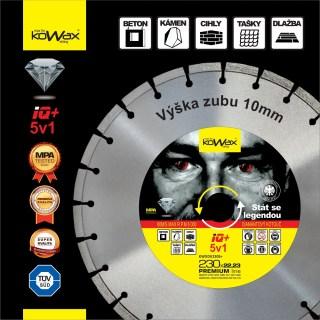 230x2.6x10 5v1 Diamantový řezný kotouč KWXDK23026S+ Kowax na Beton, Kámen, Cihly, Tašky, Dlažbu - foto 1