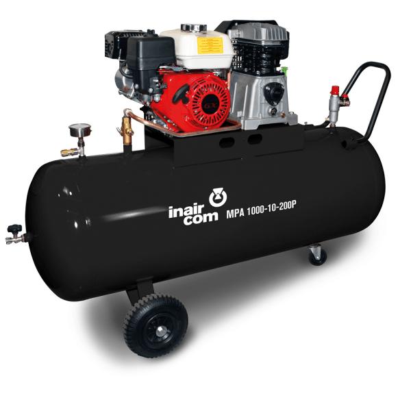 MPA 1000-10-200P benzínový pojízdný pístový kompresor InAirCom Mobil Petrol Air 9,7kW - foto 1