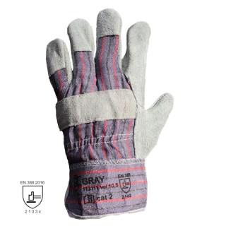 GRAY kombinované pracovní rukavice ze štípené hověziny - foto 1