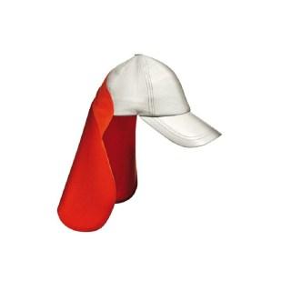 Čepice/kšiltovka pro svářeče z přírodní kůže, červenobílé barvy - foto 1