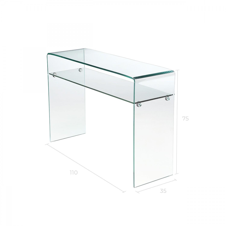 console ernest 2 niveaux en verre