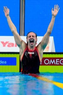 Budapest, 2017. július 30. A gyõztes Hosszú Katinka a nõi 400 méteres vegyesúszás döntõje után a 17. vizes világbajnokságon a Duna Arénában 2017. július 30-án. MTI Fotó: Kovács Tamás