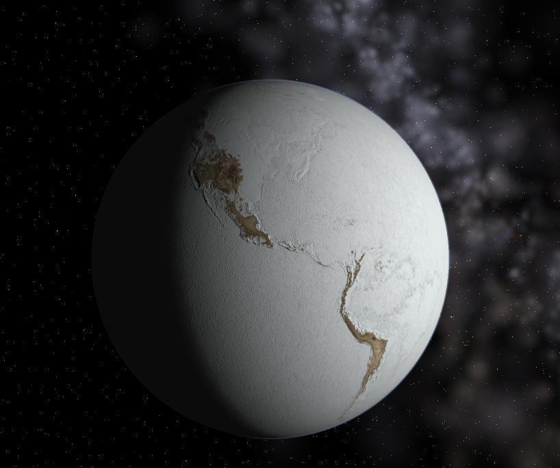 Dünya artık kilometrelerce kalınlıkta; üstte azot, onun altında su buzuyla kaplı bir küreden ibaret.
