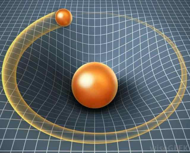 Uzay-zamanda ağır bir cisim, uzay-zaman bükülmesi yaratarak yakınındaki cisimleri kendine çekebilir.