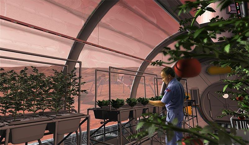 """Saksıda sebze yetiştiren kolonist görselleri, gerçekcilikten çok uzak. Bu şekilde yapılacak minimal tarım ile ancak """"deney"""" yapılabilir, koloninin karnı doyurulamaz."""