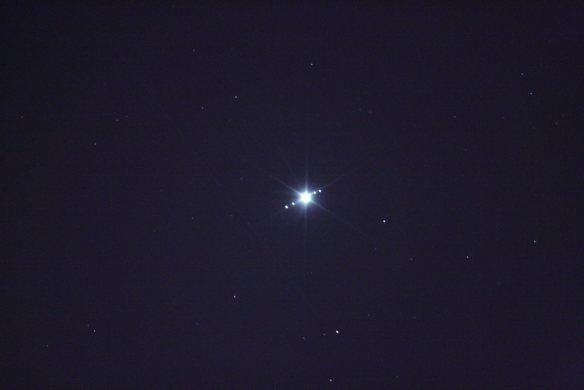 Jüpiter gezegeni ve 4 uydusu