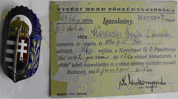 Vitéz cím és vitézi jelvény viselésére feljogosító igazolvény 1942-ből