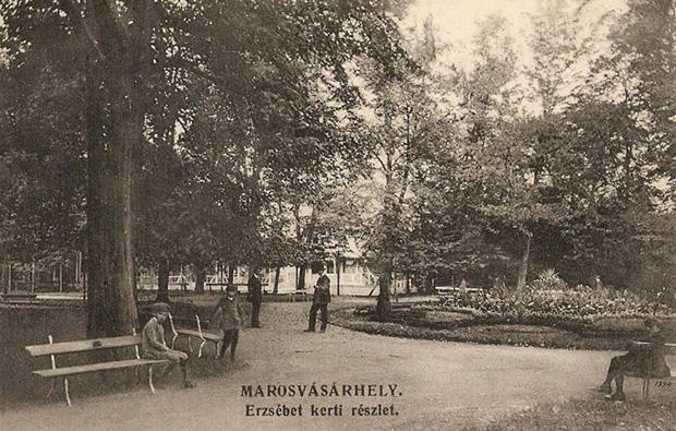 Marosvasarhely - Erzsebet ligeti reszlet a parkkal.1911