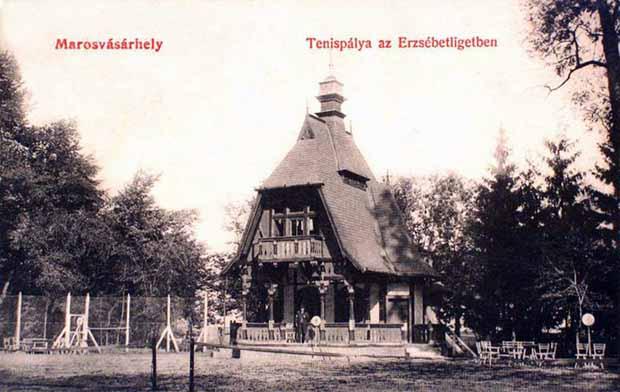 Marosvasarhely - teniszpalya az Erzsebet ligetben.1908