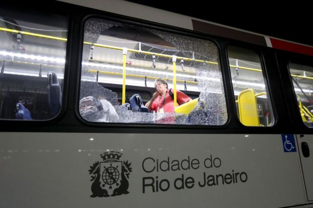 Damage to a media bus in the Deodoro area of Rio de Janeiro on the fourth day of the Rio Olympic Games, Brazil. PRESS ASSOCIATION Photo. Picture date: Tuesday August 9, 2016. Photo credit should read: David Davies/PA Wire. RESTRICTIONS - Editorial Use Only.