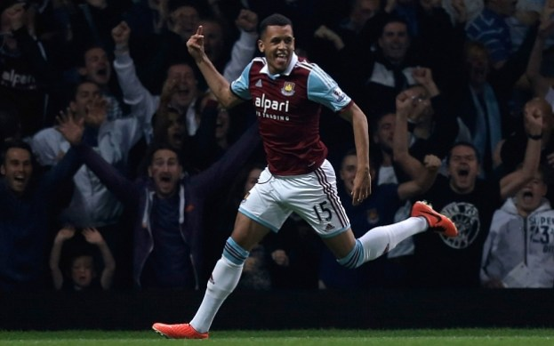 West Ham United v Cardiff City - Capital One Cup Third Round...LONDON, ENGLAND - SEPTEMBER 24: Ravel Morrison of West Ham celebrates scoring his side's first goal during the Capital One Cup third round match between West Ham United and Cardiff City at the Boleyn Ground on September 24, 2013 in London, England.  (Photo by Harry Engels/Getty Images)
