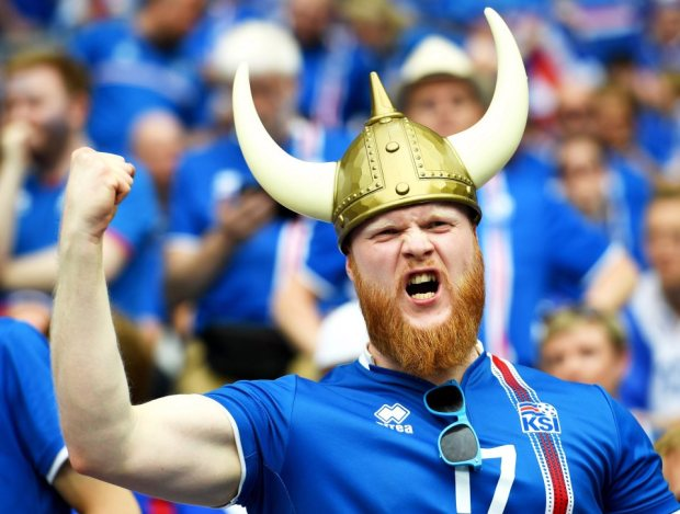 epa05383563 A supporter of Iceland before the UEFA EURO 2016 group F preliminary round match between Iceland and Austria at Stade de France in Saint-Denis, France, 22 June 2016. (RESTRICTIONS APPLY: For editorial news reporting purposes only. Not used for commercial or marketing purposes without prior written approval of UEFA. Images must appear as still images and must not emulate match action video footage. Photographs published in online publications (whether via the Internet or otherwise) shall have an interval of at least 20 seconds between the posting.) EPA/GEORGI LICOVSKI EDITORIAL USE ONLY