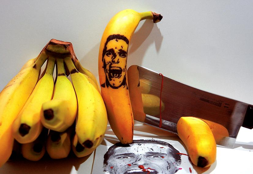 A bananas artist tattoos portraits of her favourite stars onto her favourite fruit before snacking on it.  Illustrator and graphic artist Honey, 32, spends up to two hours puncturing the bananas' distinctive black-and-yellow skin with a safety pin...Honey, who lives in New Jersey, America, says she was inspired by one of her friends, a tattoo artist.  SEE OUR COPY FOR DETAILS...Pictured: Banana art: Patrick Bateman, American Psycho, played by Christian Bale...© Honey/Solent News & Photo Agency.UK +44 (0) 2380 458800.  ***EXCLUSIVE***
