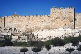 Vue sur la Porte Dorée depuis Gethsémani, à l'emplacement qu'emprunta le Christ.