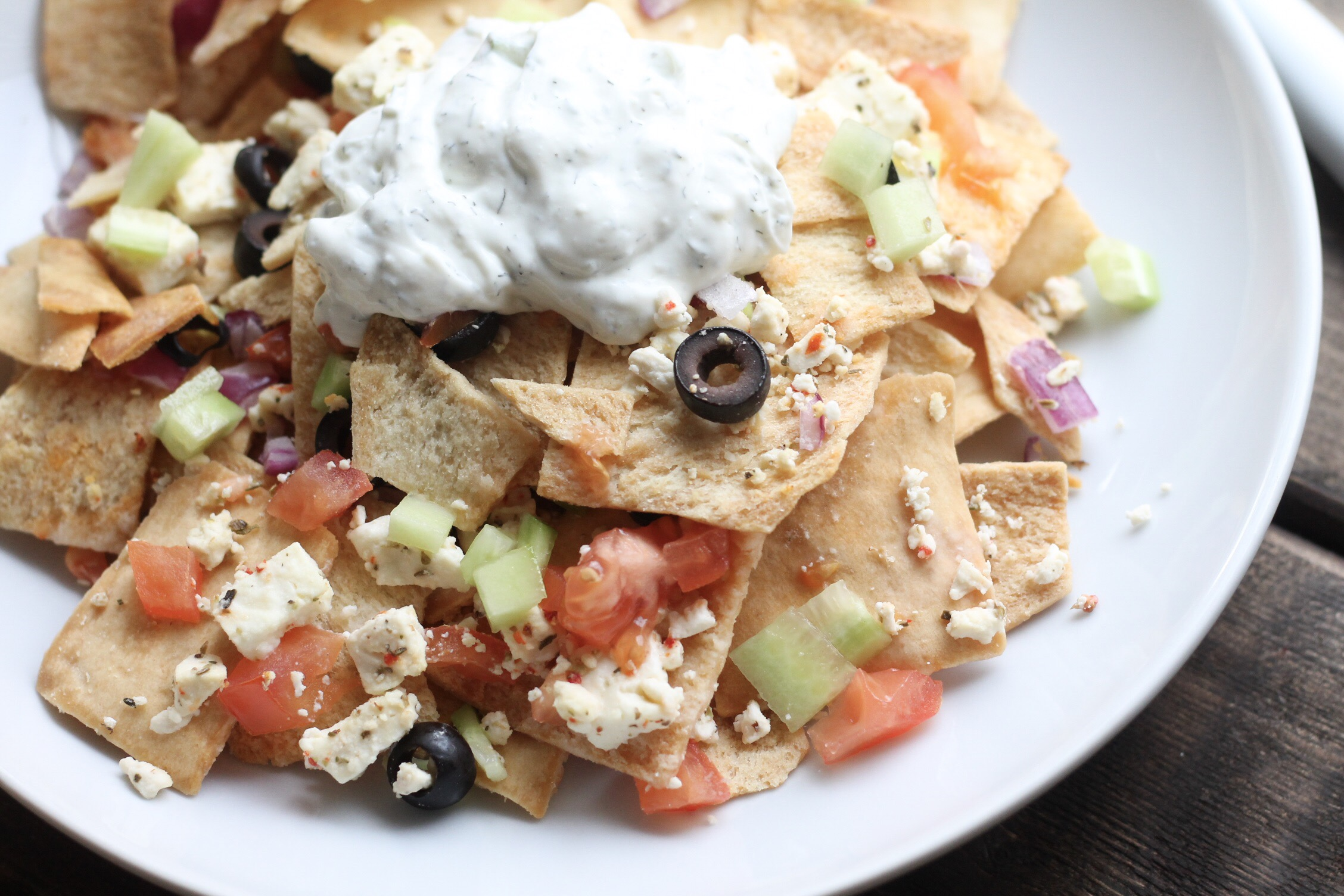Game Day Appetizers | Greek-style Nachos - Kozy and Co