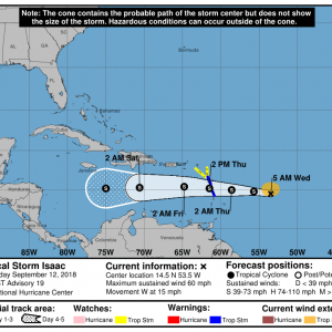 083448 5day cone no line and wind 300x300 1 - Boletín Tormenta Tropical Isaac, martes 11 de septiembre de 2018, 5:00am