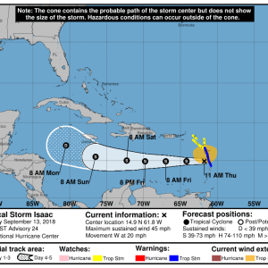 144134 5day cone no line and wind 300x300 - Boletín Tormenta Tropical Isaac, jueves 13 de septiembre de 2018, 11:00am