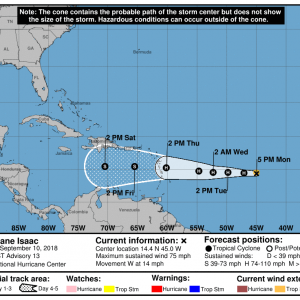 203340 5day cone no line and wind 300x300 1 - Boletín Tormenta Tropical Isaac, martes 11 de septiembre de 2018, 5:00am